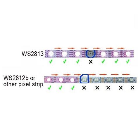 Світлодіодна стрічка RGB SMD5050, WS2813 (чорна, з управлінням, IP65, 5 В, 60 діодів/м, 1 м) Прев'ю 2